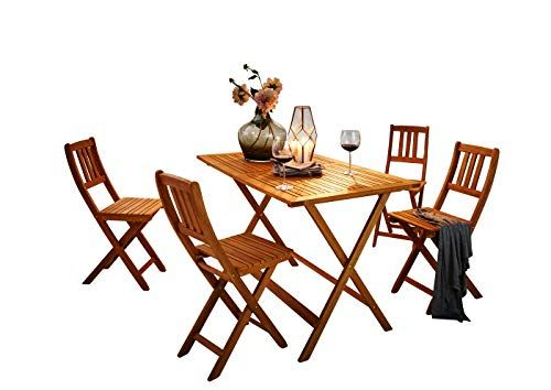 SAM Salon de jardin Costas 5 pièces en bois d\'acacia 1 x table 4 x ...