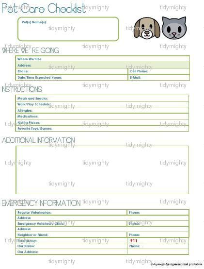 Pet Care Checklist / Petsitting Printable PDF by tidymighty