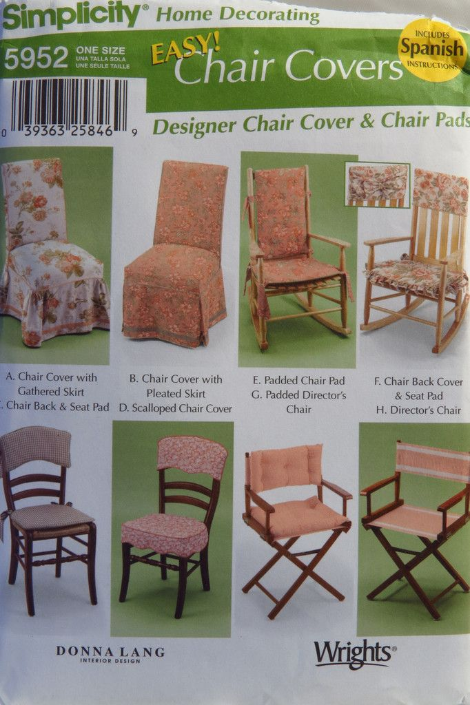 Items Similar To Easy Chair Cover Pattern Simplicity 5952 Home Decor Pattern  Gathered Or Pleated Skirt Cover, Director Chair, Chair Back And Seat Pad  UNCUT ...