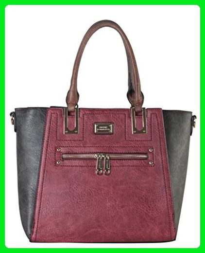 Diophy PU Leather Two Tone Front Zippered Pocket Multi Spaced Large Tote  Womens Purse Handbag Accented with Removable Strap AB-024 - Shoulder bags  ( Amazon ... 888f259b76