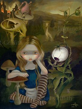 "Jasmine Becket-Griffith ""Alice in a Bosch Landscape"" Two of JBG's favorite subjects. Alice (who gets place in various works of art and stories thru out JBG's work) and my fave depraved artist Hieronymus Bosch (15th c. Surrealist with an umm interesting imagination)."