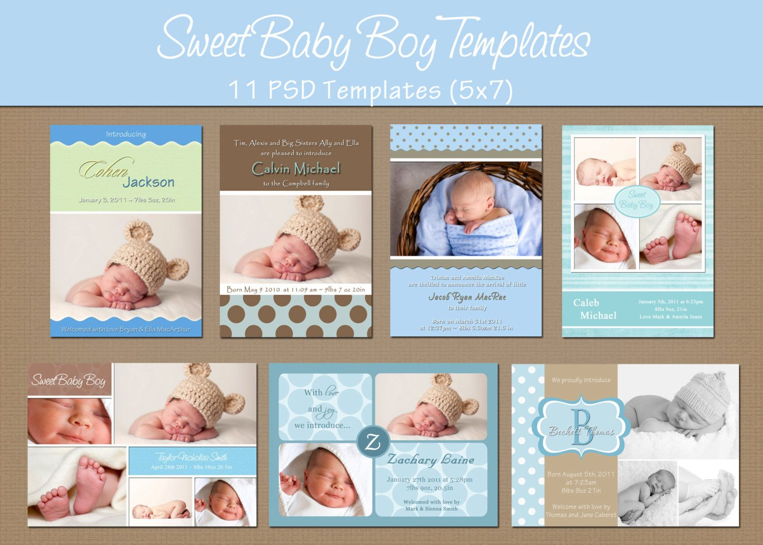 Birth Announcement Templates - Baby Boy - 11Psd Commercial Use Templates -  Buy 2 Sets Get 1 Free. $29.99, Via Etsy.