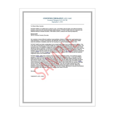 Emotional support animal therapist letter for airlines for Service pet letter