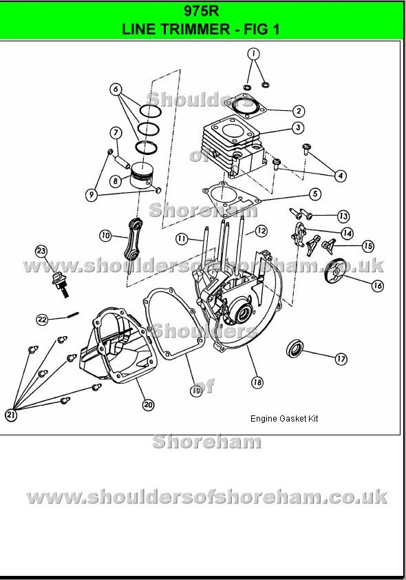 975r Ryobi Trimmer brushcutter Spare parts, Diagram
