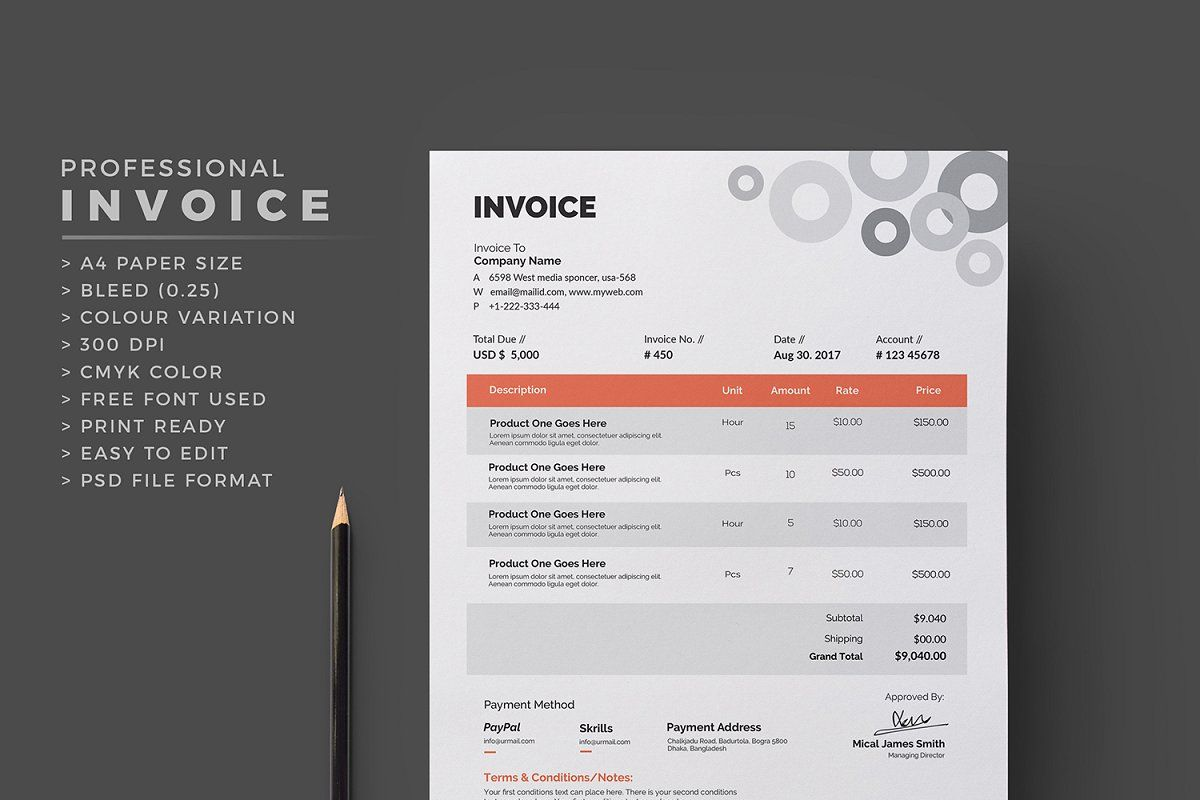 Invoice in 2020 Stationery templates, Invoice template