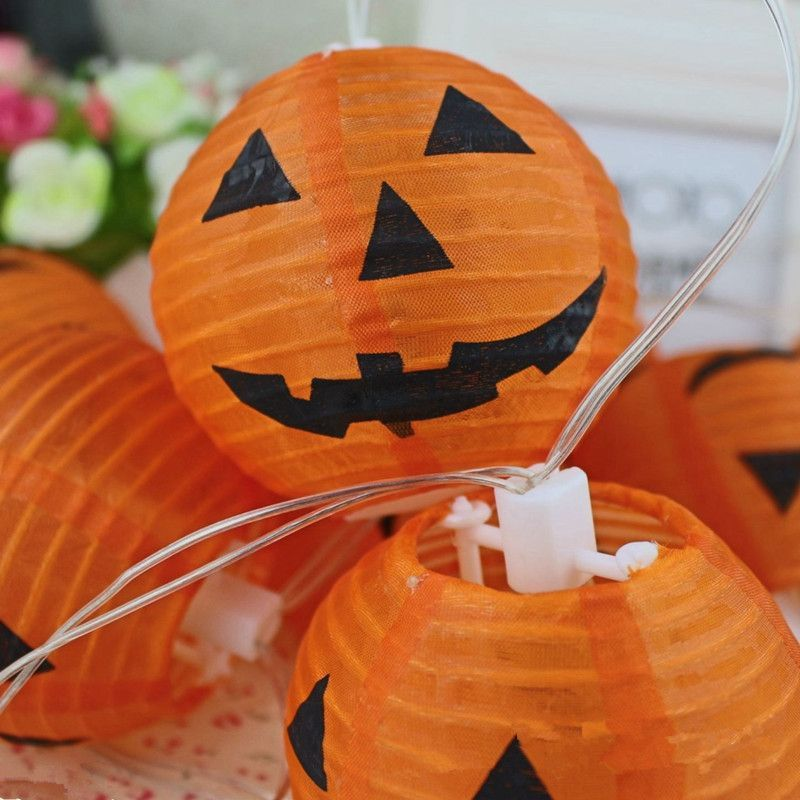 Halloween Decoration 3inch(75CM) 10PCS Pumpkin Light Hanging Silk