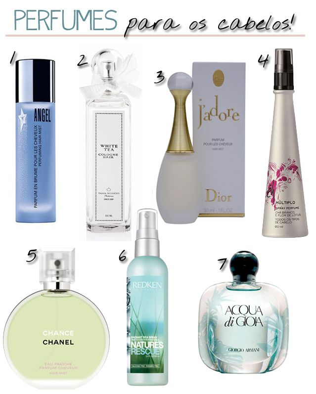1- Angel Hair Mist, Thierry Mugler – R$ 209,00/30ml 2- White Tea – Lavande de Provence,  Tania Bulhões – R$ 79,00 3- Spray Aromático J'adore Hair Mist, Dior – R$ 139,00/30ml 4- Múltiplo Spray Perfume, Éh – R$19,90 5- Chanel Chance Hair Mist, Chanel – R$109,50 6- Perfume Radiant Sea Spray,  Redken – R$ 90,00 7- Spray Aromático Acqua di Gioia Brume Cheveux Hair Mist, de Giorgio Armani – R$99,00  Saiba mais em: http://vamosfalardecosmeticos.com.br/