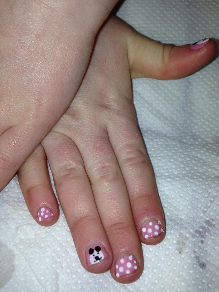 Panda and polka dots kids nail art   Kalea-Reign   Pinterest   Kid ...