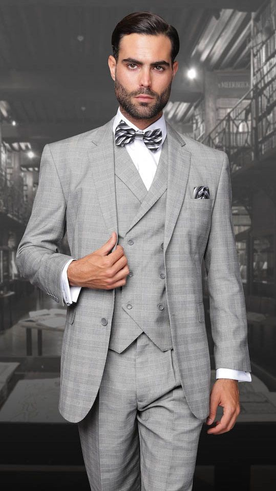 Statement Wool Light Gray DB Vest Plaid 3 Piece Suit TZ-906 ...