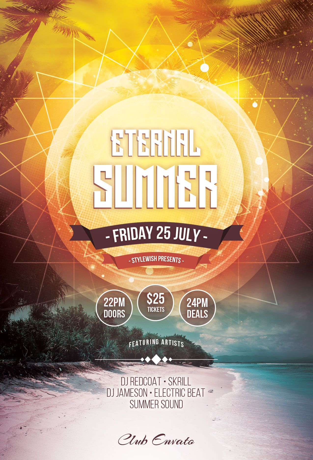 easy to customize psd flyer template for your club or music event