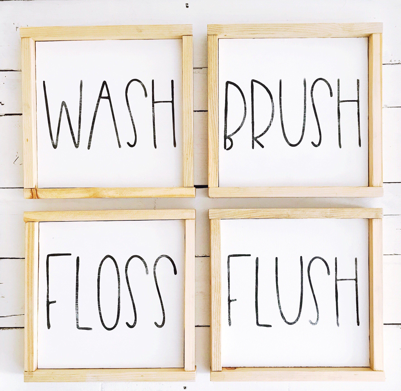 Rae Dunn Inspired Bathroom Wood Sign Pallet Sign Framed Etsy Wood Bathroom Diy Wall Decor Wall Signs