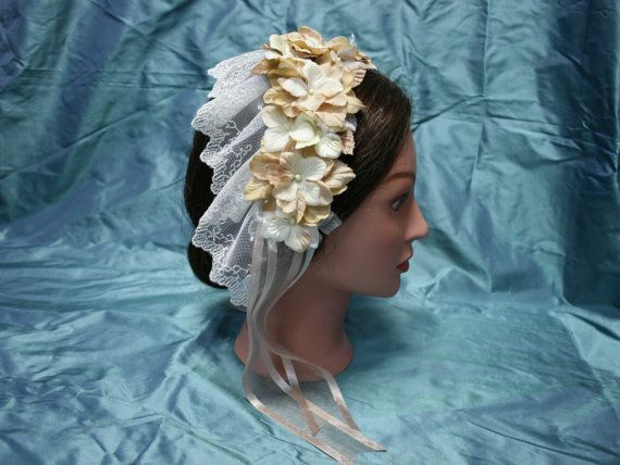 Cocoa and Ivory Victorian Hair Piece made by southernserendipity civil war era fashion