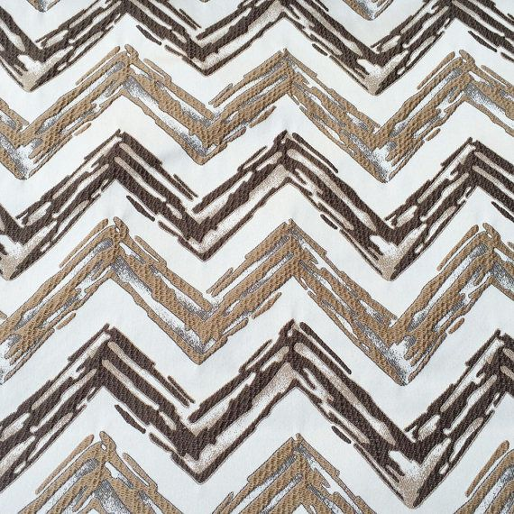 Coffee Brown Beige Zig Zags Fabric By The Yard Curtain Fabric