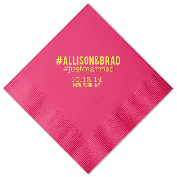 Hashtag Beverage Napkins Foil Stamped Personalized Hashtags Tail Napkin Wedding Favors Bridal Shower Rehearsal Anniversary Custom
