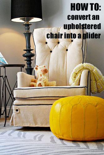Converting an upholstered chair into a swivel glider