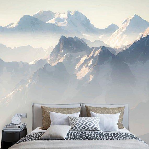 Mountain Range Landscape Wallpaper Nature Wallpaper Vintage Wall