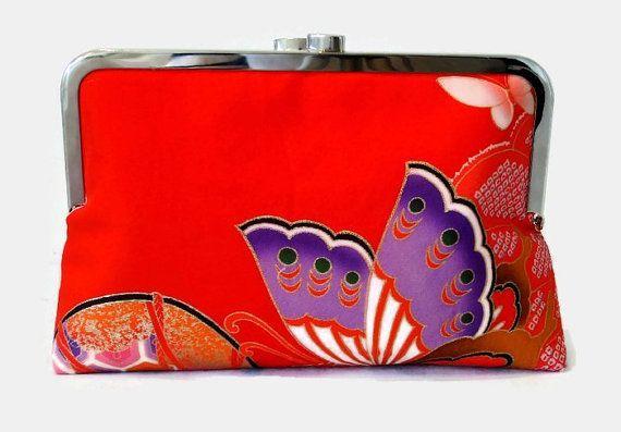 Scarlet Silk Clutch Purse With A Purple by SimplySilkScarves
