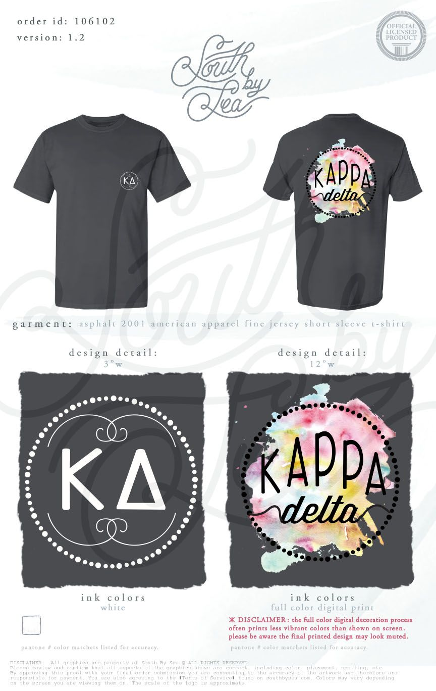 Kappa Delta Kd Watercolor T Shirt Design Spring Pastel Colors