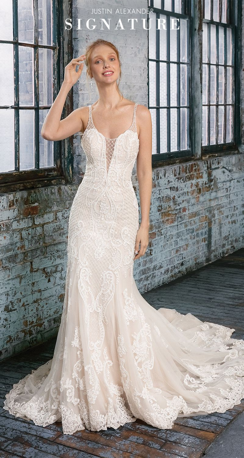 fde8f8324 Style 99008: Feel glamorous wearing this lace fit and flare wedding dress  with a plunging v-neckline showcasing lattice beadwork throughout the  bodice and ...