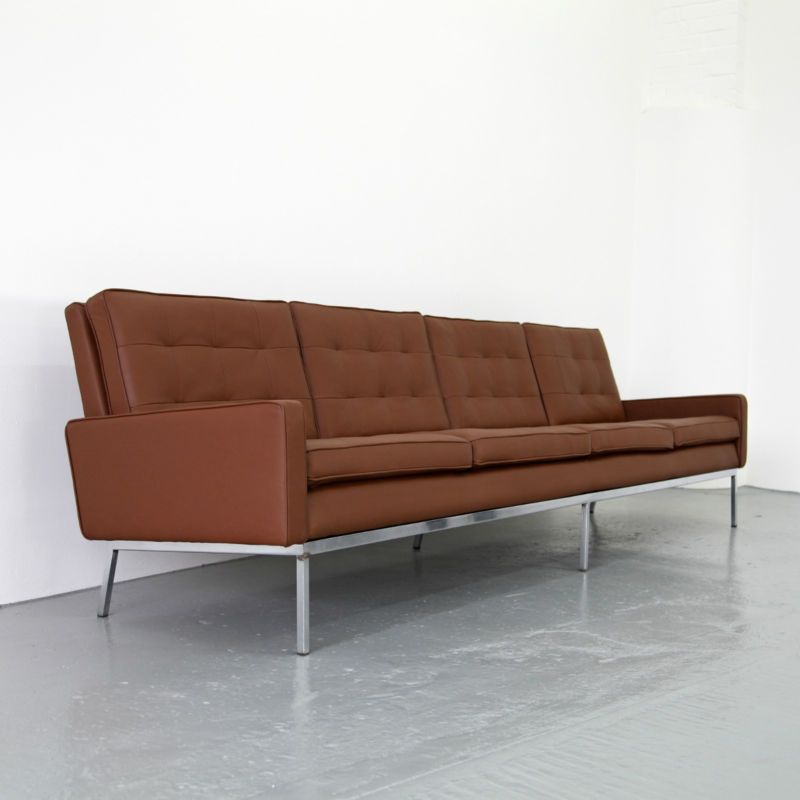 Rare 4 Seater Leather Sofa by Florence Knoll for Knoll ...