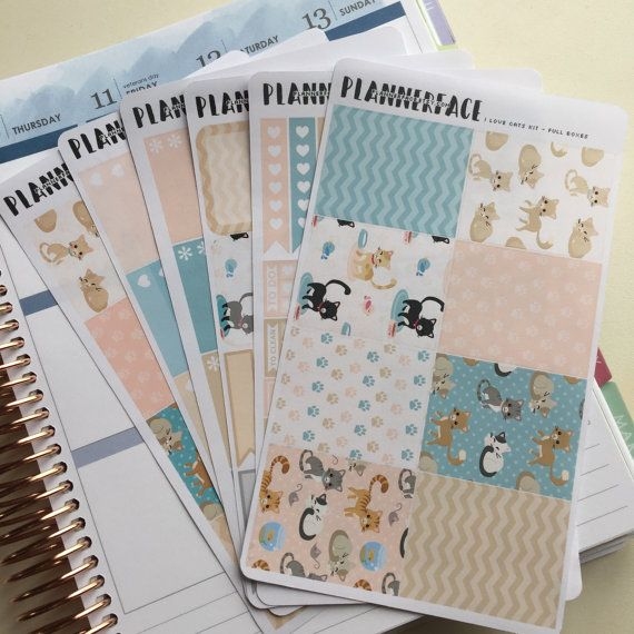 "Cat Planner Sticker Full Weekly Kit ""I Love Cats"", Pastel Pink, Blue, Beige, Grey Vertical Erin Condren Style Stickers, Happy Planner"
