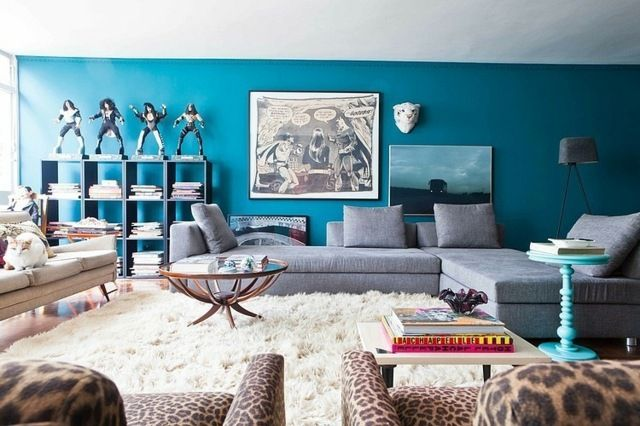 Blaue Wandfarbe Wohnzimmer Wohnideen Wandregal Graues Sofa (