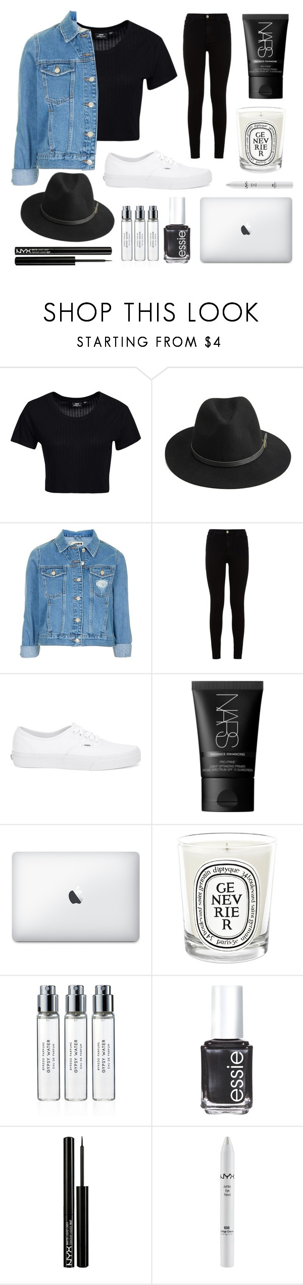 """""""maybe someday """" by anomalyyy ❤ liked on Polyvore featuring Dr. Denim, BeckSöndergaard, Topshop, 7 For All Mankind, Vans, NARS Cosmetics, Diptyque, Byredo, Essie and NYX"""
