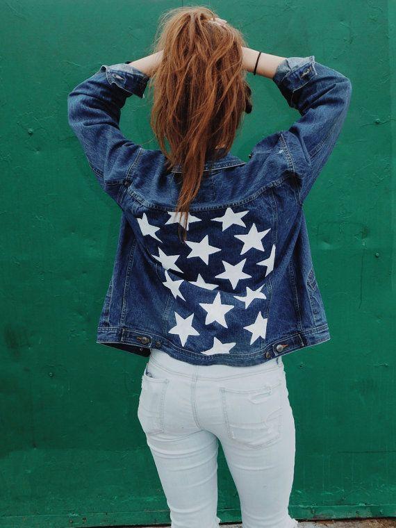 f0a75c7b05e Custom Hand Painted Distressed Denim Jacket (Stars) Upcycled ...
