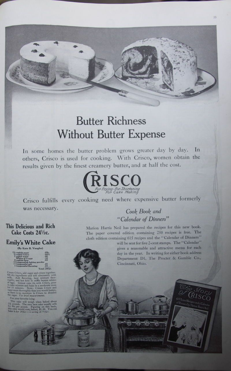 1914 Ladies Home Journal Vintage Crisco Ad White Cake Recipe Kitchen ...