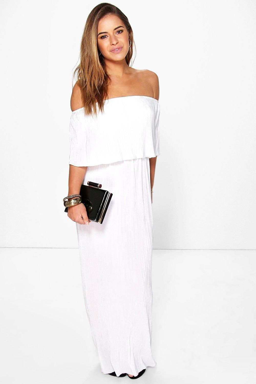 Petite Helen Bardot Pleat Fabric Maxi Dress