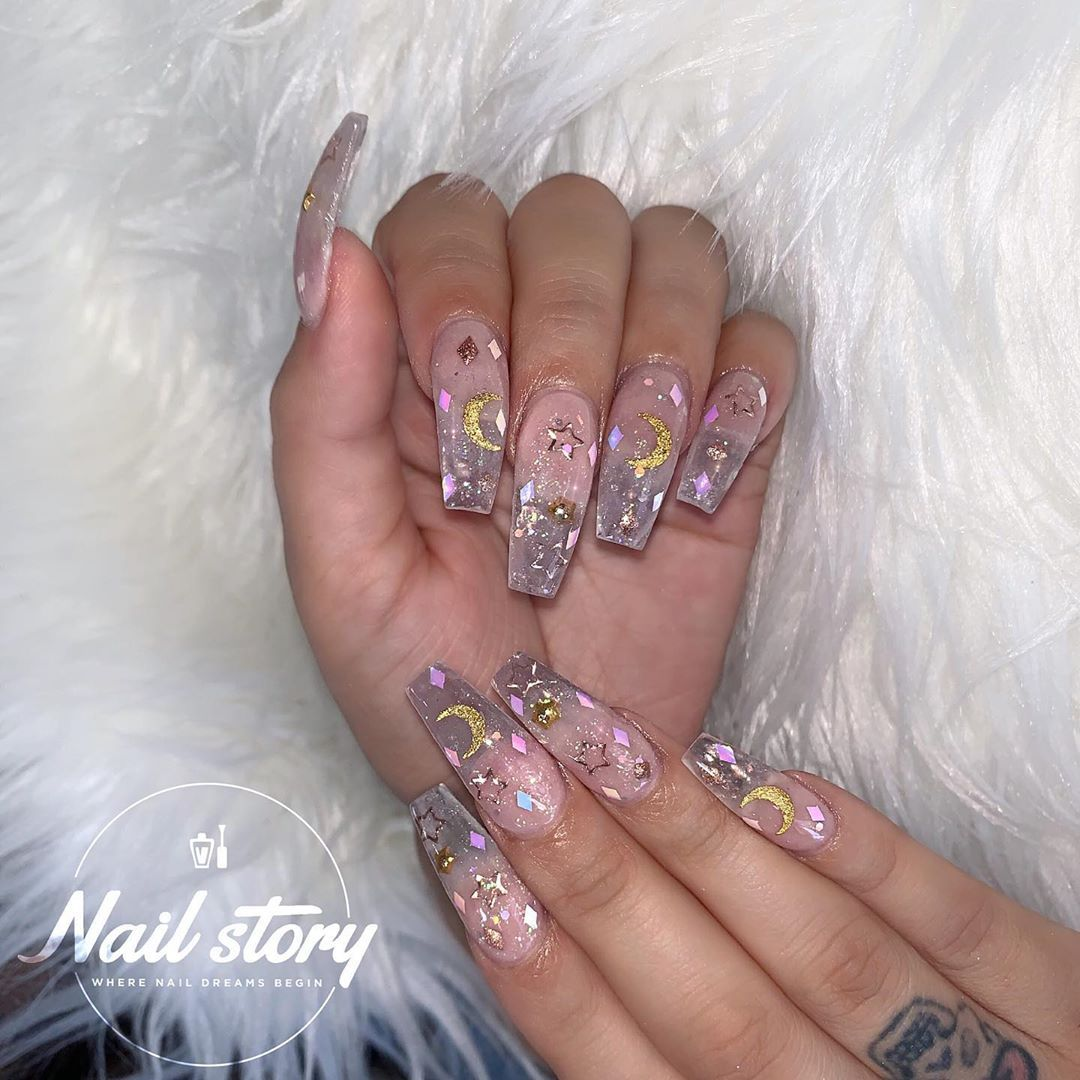 Moon Stars Clear Nails Encapsulated With Iridescent Sparkles Diamond Flakes Moons Stars Clear Nails Nails Pretty Acrylic Nails