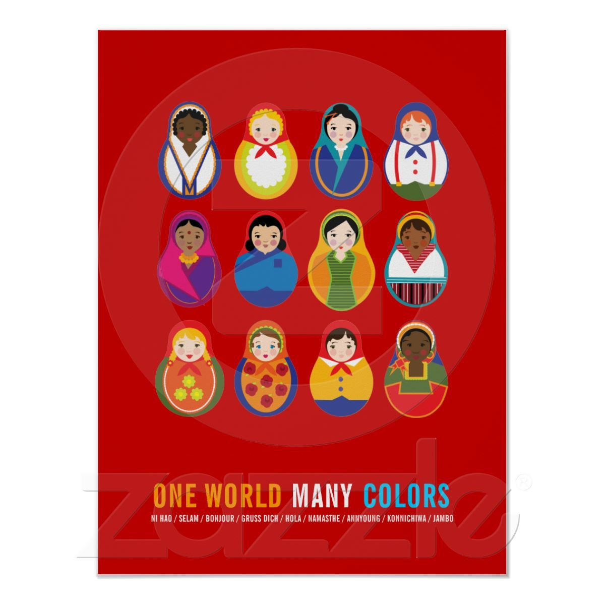 Zazzle poster design - Celebrate Culture Diversity One World Many Color Poster