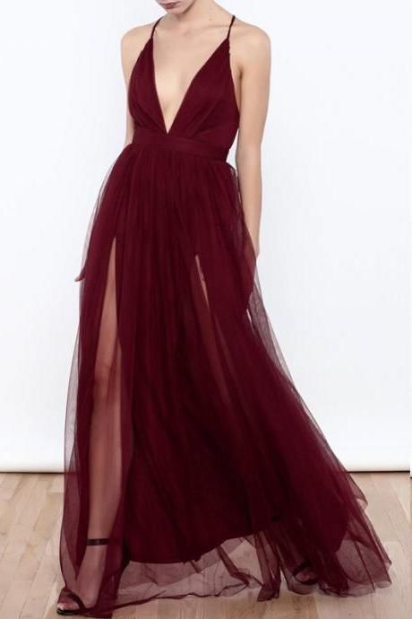 Sexy Deep V Neck Burgundy Long Prom Dress  8fc78dcaf