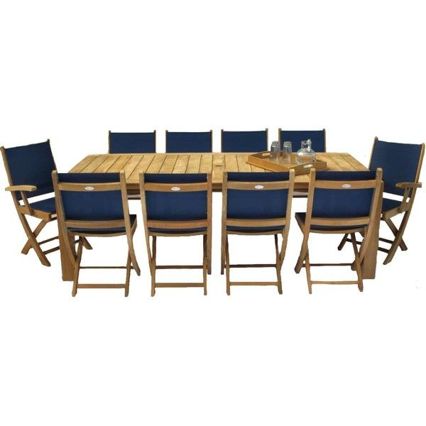 Royal Teak Collection Sailmate 10 Person Sling Dining Set W 96