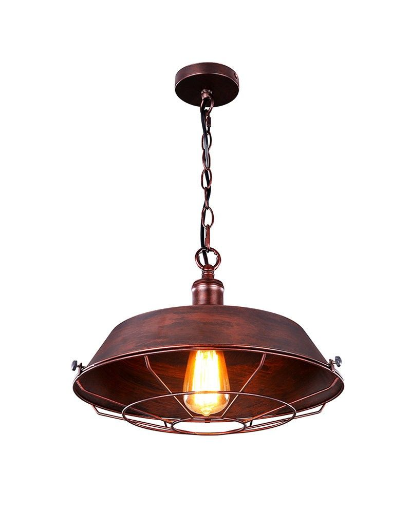 Large Size Retro Industrial Style Pendant Light with Rusty Shade and ...