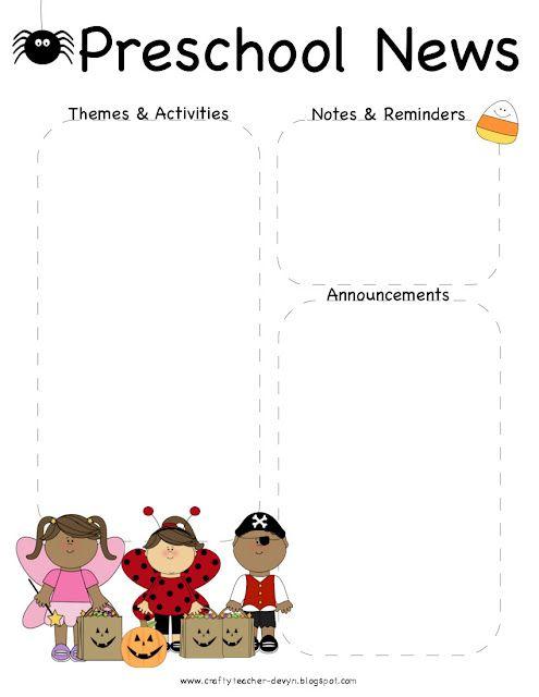 October, Halloween Preschool Newsletter Template The Crafty - preschool newsletter template