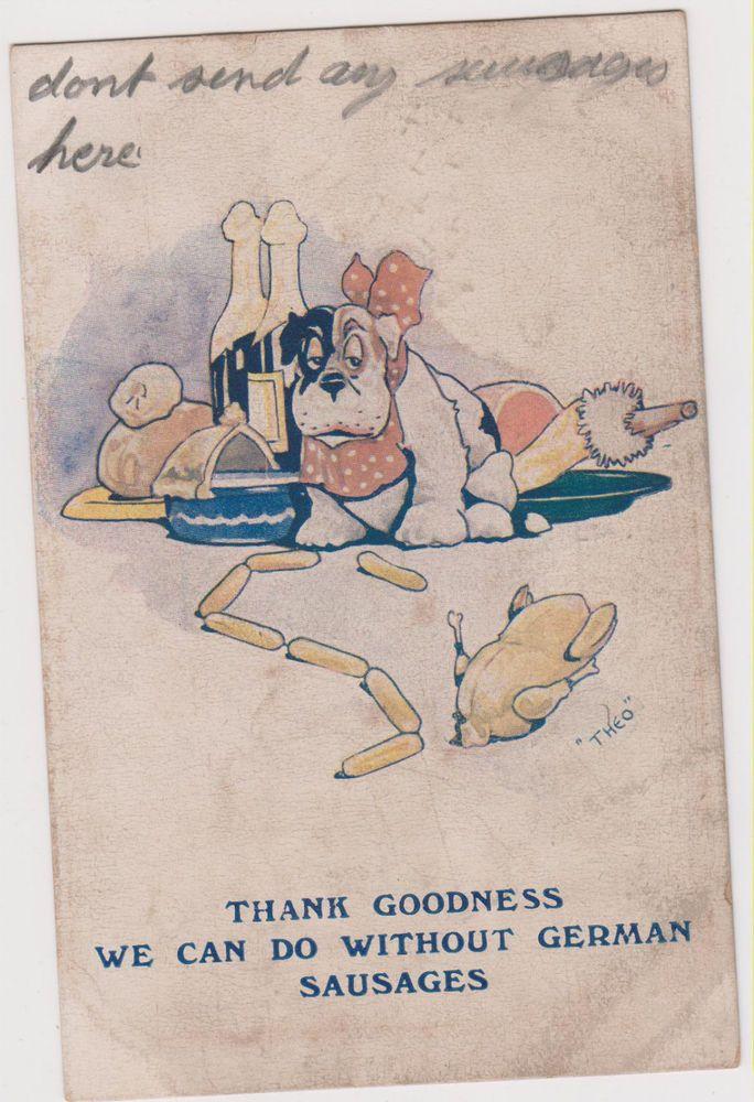 BULLDOG and GERMAN SAUSAGES Illustrated World War I England Bulldog post card 74