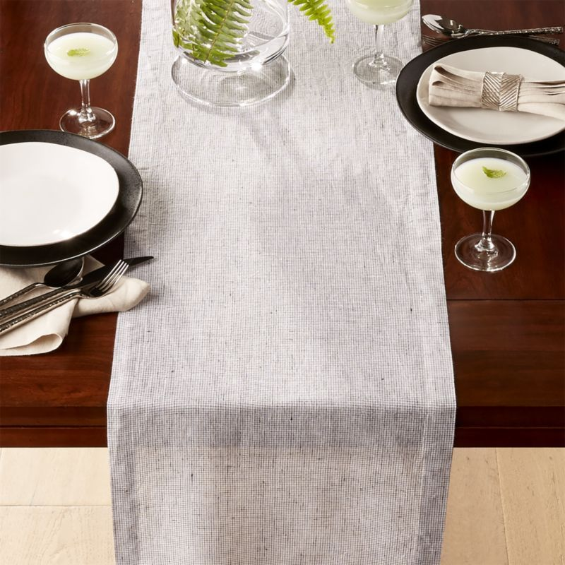 Suits Neutral Grid Grey Linen Table Runner Crate And Barrel Linen Table Runner Table Runners Table Runner And Placemats