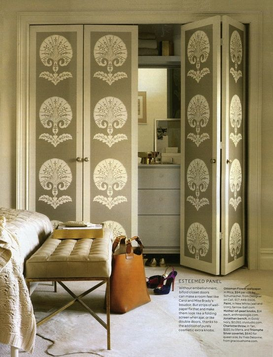 wallpaper bifold doors - laundry closet. Definitely not with this pattern, but a great idea.