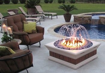 The Philharmony Square Fire Pit And Water Fountain With Light Kit Rustic Fire Pits Fire Pit Decor Brick Fire Pit