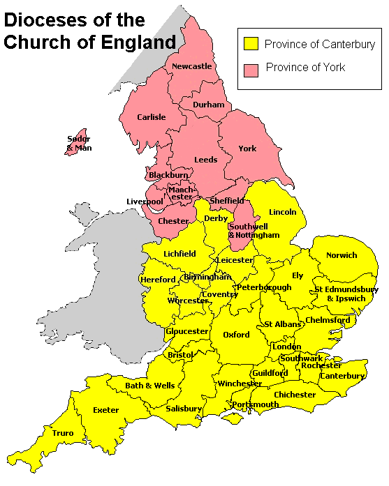 Coverage Of The Province Of Canterbury The Diocese Traces Its