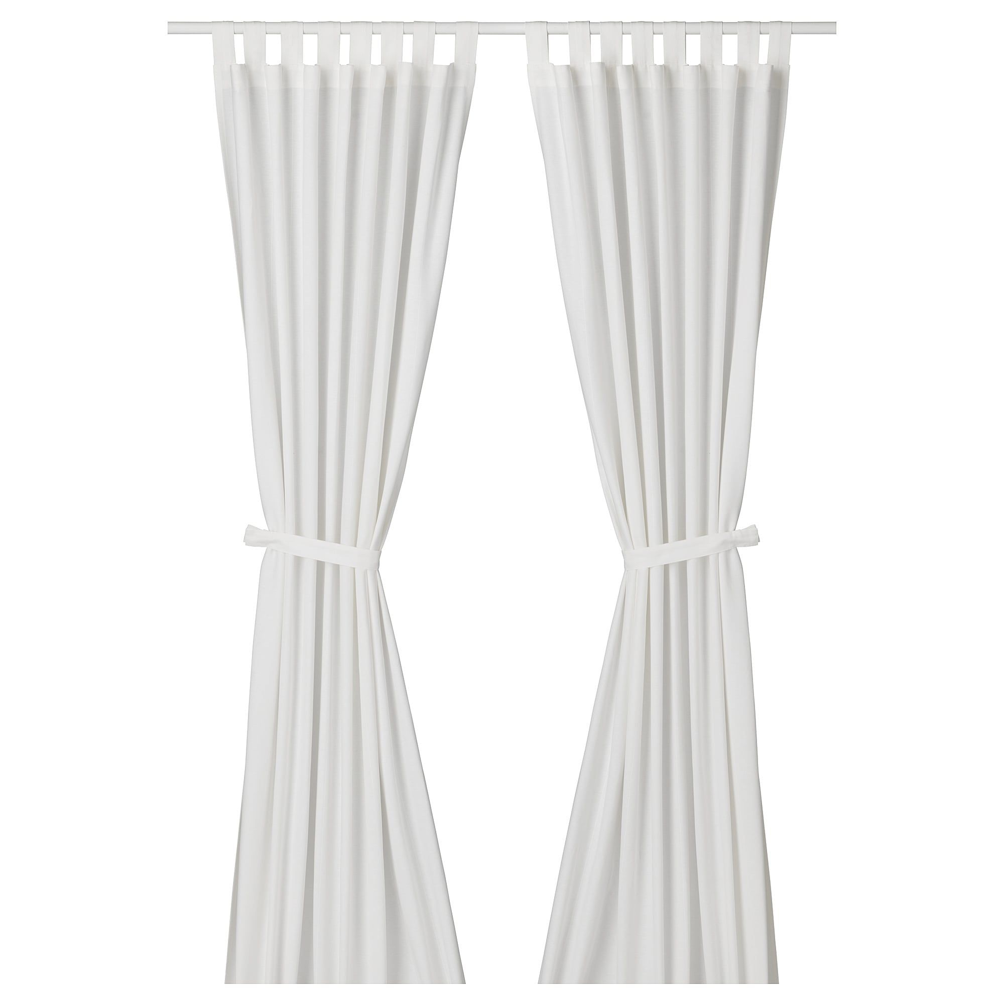 Ikea Lenda Bleached White Curtains With Tie Backs 1 Pair Room