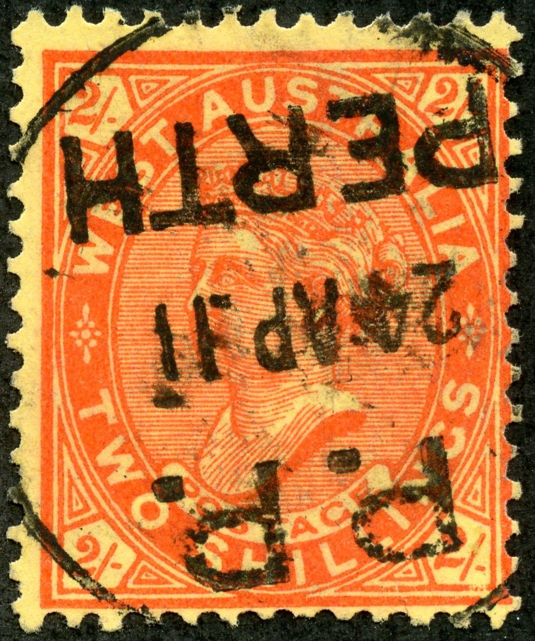 "Western Australia  1906 Scott 84 2/- orange red/yellow ""Victoria"", Wmk 70"