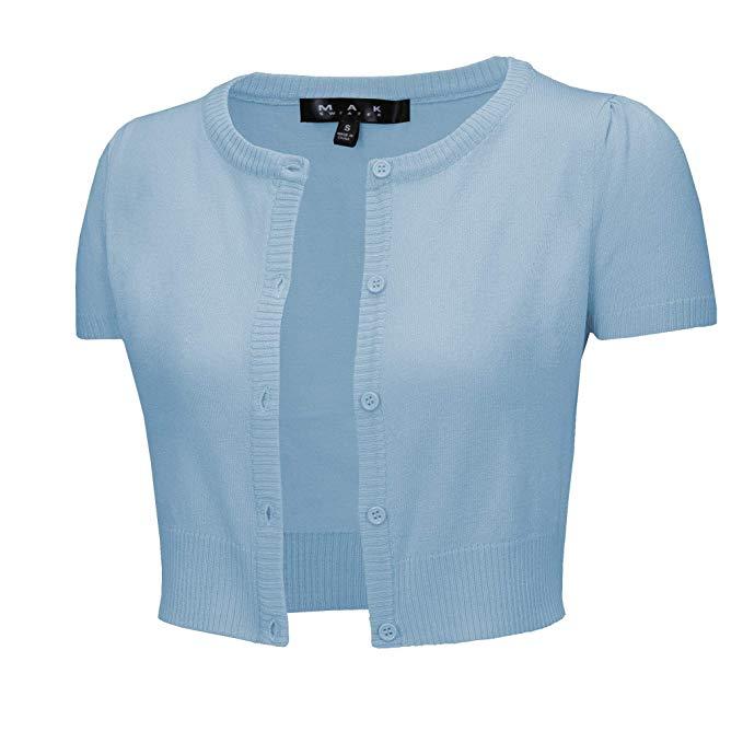 YEMAK Womens Cropped Bolero Button Down Short Sleeve Cardigan Sweater S-L