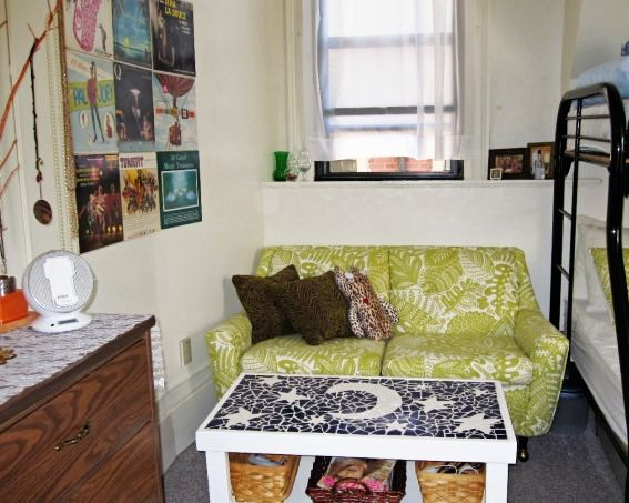 Add A Small Sofa And Unique Coffee Table To Your Dorm Room For Added  Comfort.
