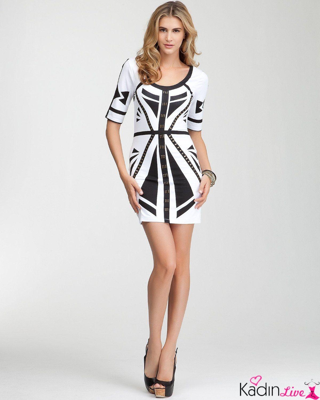 Siyah Beyaz Desenli Dar Elbise Modelleri Kadinlive Com Moda Stilleri Kadin Kiyafetleri Yaz Modalari