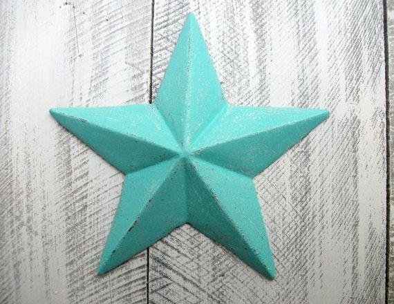 Bright Teal Cast Iron Star Wall Decor Blue Indoor Outdoor Accessory Nautical Sailor Metal Art Texas Bedroom Living Room Bathroom