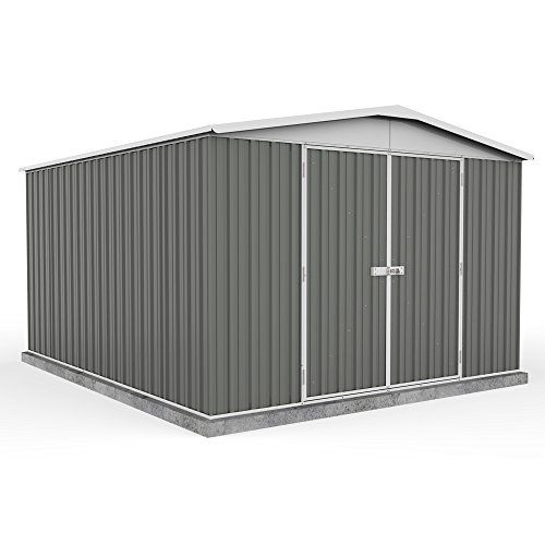 10\u0027 x 12\u0027 Grey Apex Roof Metal Garden Shed - Easy Build - Grey - By