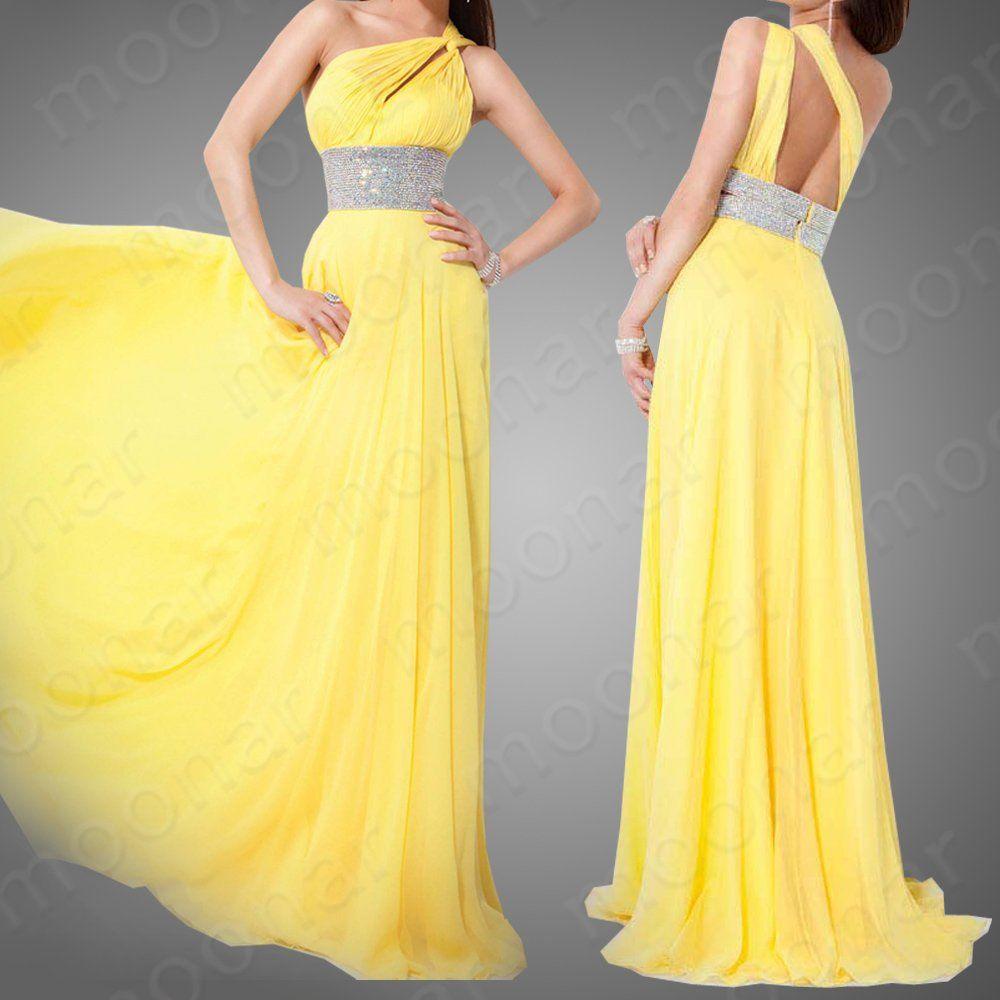 Vestidos de noche color amarillo