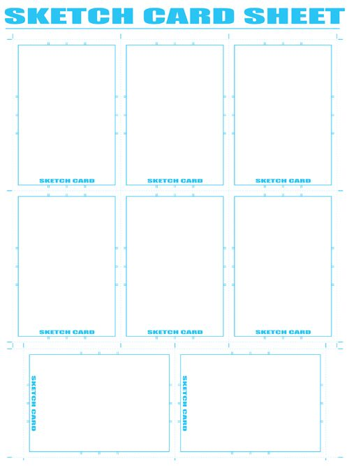 Free Comic Book Resources   Sketch Card Sheet Drawing - blank reference sheet